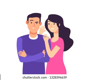 Gossiping. Woman speaking rumor gossip whisper secret to shocked man whispering vector cartoon concept