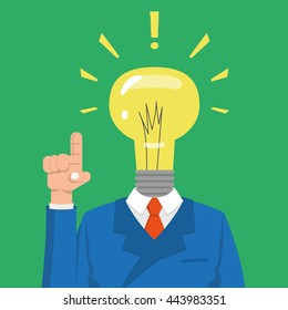 Got an Idea. Head-light bulb isolated on green background. Light bulb symbol of ideas, the right decisions. light bulb character