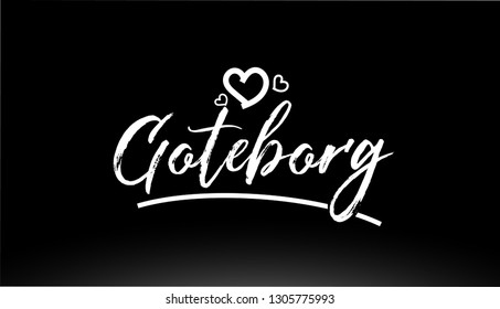 goteborg black and white city hand written text with heart for logo or typography design