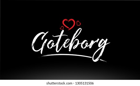 goteborg city hand written text with red heart suitable for logo or typography design