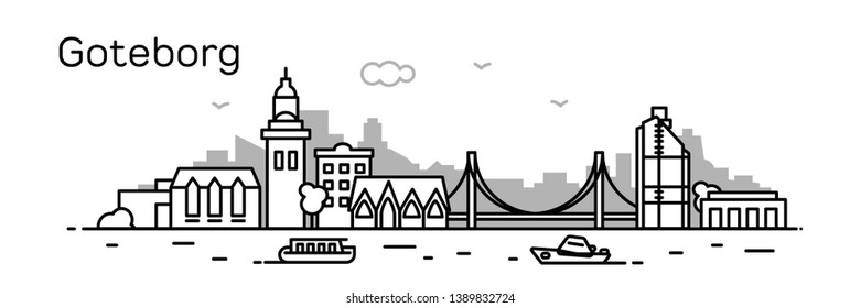 Goteborg city. Modern flat line style. Vector illustration. Concept for presentation, banner, cards, web page