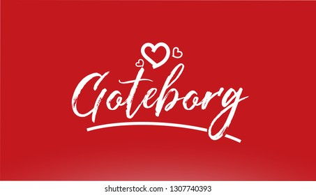 goteborg white city hand written text with heart on red background for logo or typography design