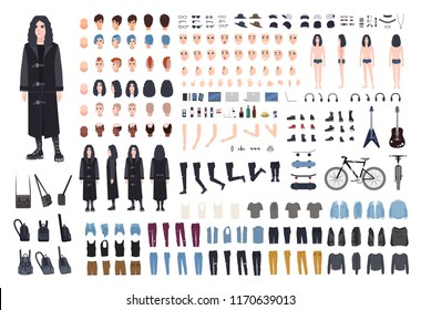 Goth or metal rocker creation set. Collection of teenager's body parts, various subcultures' attributes, clothes and accessories, haircuts isolated on white background. Cartoon vector illustration.