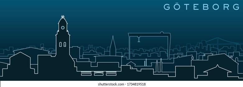 Gothenburg Multiple Lines Skyline and Landmarks