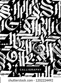 Gothic abstract calligraphy. Fraktur. Vector hand drawn illustraton.