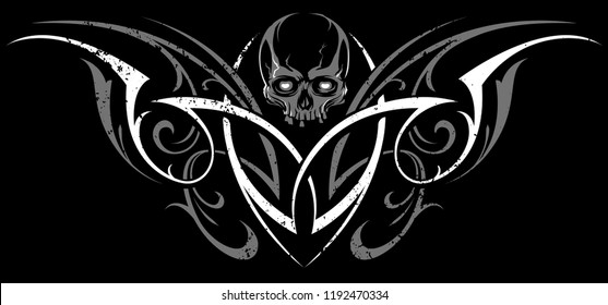 Gothic Abstract Ornament Vector Shape with Skull. White and grey on black. Grunge tattoo vector illustration.