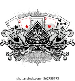 Gothic ace of spades with skull, grunge vintage design t shirts