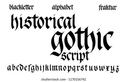 Gothic Alphabet. Historical handwritten blackletter script. Black German font isolated on white background