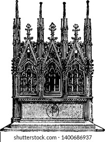 Gothic Altar is an erection made for the offering sacrifices for memorial purposes designed for sacrifice is mentioned Scripture as early as the time of Noah vintage line drawing or engraving