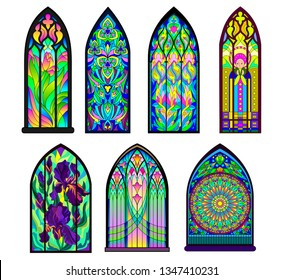 Gothic architectural style with pointed arch. Set of different beautiful colorful stained glass windows. Modern print. Middle ages in Western Europe. Vector image.