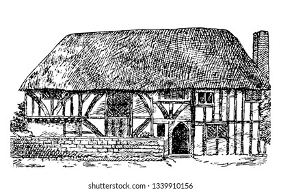 Gothic Architecture Alfriston Clergy House in Alfriston, England illustrating typical Gothic architecture,  medieval, middle ages, vintage line drawing or engraving illustration.