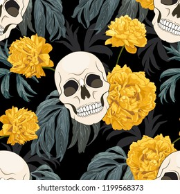 Gothic background with skulls and yellow peonies. Vector seamless pattern.