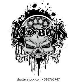 Gothic banner with skull, grunge.vintage design t-shirts