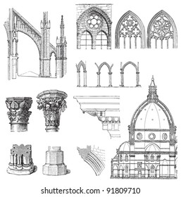 Gothic building style / illustrations from Meyers Konversations-Lexikon 1897