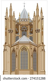Gothic cathedral completed in the 14th century - the eastern part of the outer supporting system with supporting arches, pillars reinforcing the building with chapel