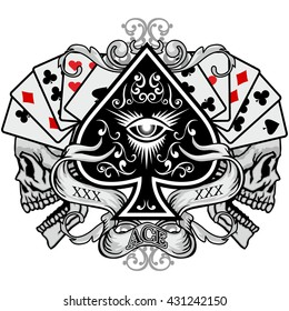 Gothic coat of arms with skull, and ace of spades  grunge.vintage design t-shirts