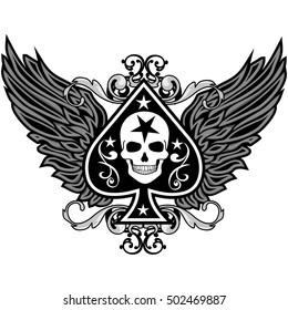 Gothic coat of arms with skull and ace of spades, vintage design t-shirts
