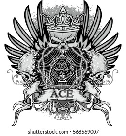Gothic coat of arms with skull and ace of spades with pentagram, grunge vintage design t shirts