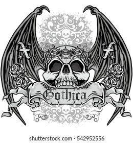 Gothic coat of arms with skull and bat wings, grunge.vintage design t-shirts