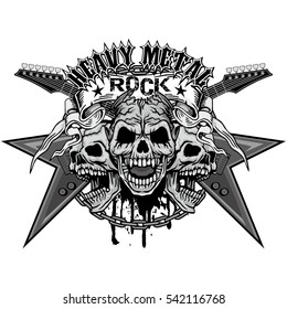 Gothic coat of arms with skull and guitars, grunge.vintage design t-shirts