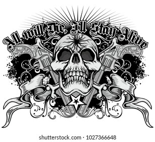 Gothic coat of arms with skull and guns, grunge vintage design t shirts