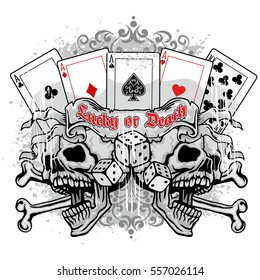 Gothic coat of arms with skull and playing card, grunge vintage design t shirts