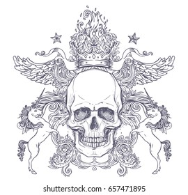 Gothic coat of arms with skull. Vintage label. Retro vector design graphic element. Hand drawn line art. Victorian tattoo template. Isolated vector illustration, design element. White background.