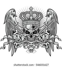 Gothic coat of arms with skull and wings, grunge.vintage design t shirts