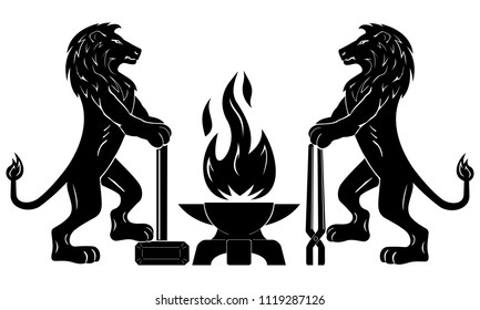 Gothic emblem of the medieval guild of blacksmiths, craftsmen. Vector. Two calm lions stand with tools near the anvil. Flame in the form of a bird Phoenix. Element of design.