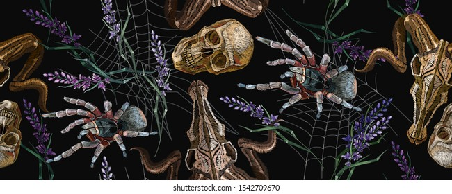 Gothic embroidery. Human skulls, lavender flowers, tarantula spider and bull head, clothes background. Horizontal seamless pattern. Halloween dark background. Fashionable template for clothes