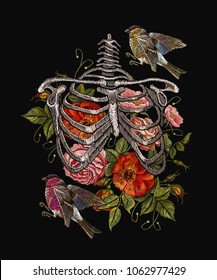 Gothic embroidery skeleton ribs, birds and flowers. Fashionable clothes, t-shirt design, beautiful flowers, renaissance style vector. Embroidery human rib cage with red roses and titmouse