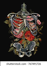 Gothic embroidery skeleton ribs and flowers. Fashionable clothes, t-shirt design, beautiful flowers, renaissance style vector. Embroidery human rib cage with red roses