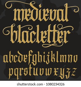 Gothic font, handmade medieval script, lowercase calligraphic letters, Full alphabet set, Blackletter style typeface. Vector