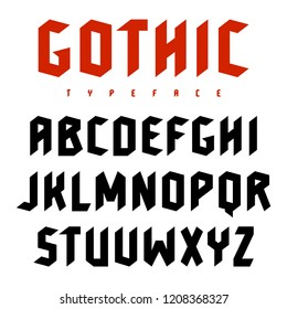 Gothic font. Uppercase letters in blackletter style. Vectors