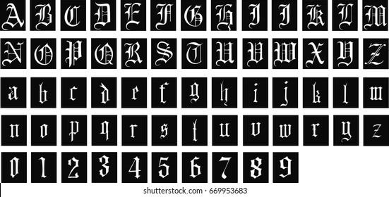 Gothic font - Vector font inside black square