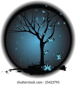 A gothic grungy tree on a dark background surrounded by butterflies and stars
