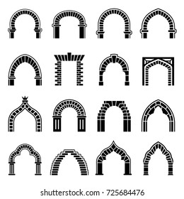 Gothic and islamic arch architecture icons set. Simple illustration of 16 gothic and islamic arch architecture vector icons for web