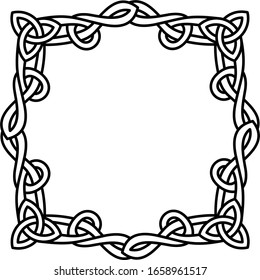 Gothic knots frame border  logo in outline style