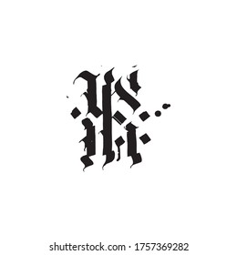 Gothic lettering black symbol F logo. Goth style. Medieval calligraphy F type. Gotic text.
