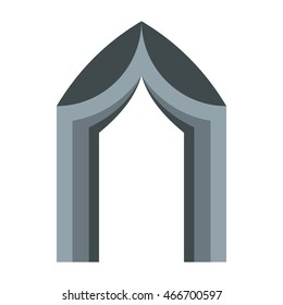 Gothic portal icon in flat style on a white background