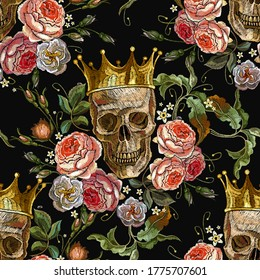 Gothic romanntic background. Dark fairy tale. Medieval seamless pattern. Golden crown, skull and red roses. Dia de muertos, day of the death art. Embroidery style