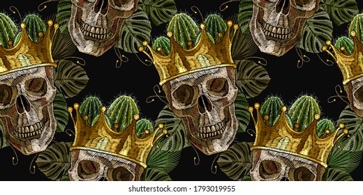 Gothic romanntic background. Dark fairy tale. Medieval horizontal seamless pattern. Golden crown, skull and palm leaves. Dia de muertos, day of the death art. Embroidery style
