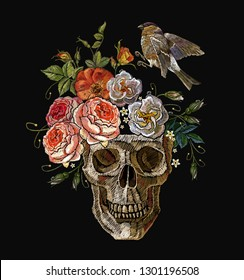 Gothic romanntic embroidery clown human skulls, red roses, pink peonies and birds. Dark style clothes template. Dia de muertos, day of the death art