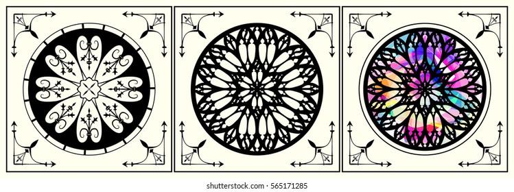 Gothic rose set, gothic architecture element, gothic window