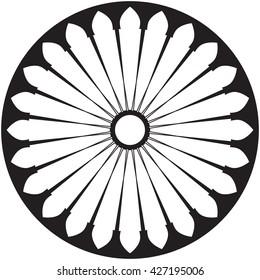 Gothic rosette window pattern, color vector illustration