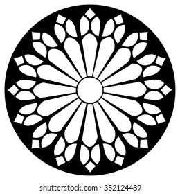 Gothic Rosette Window Pattern Vector Black And White Illustration