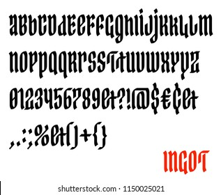 Gothic script vector font. Blackletter typeface in medieval style.