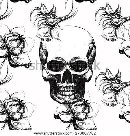 Gothic Seamless Pattern Roses Skulls Skull Stock Vector Royalty
