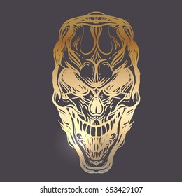 Gothic skull. Decorative detailed hand-drawn illustration. Tattoo design elements. Hand drove vector illustration. Religion, spirituality, occultism, science, alchemy magic. Gold over black.