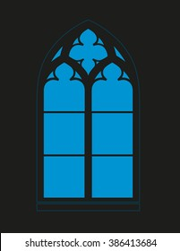 Gothic window - Silhouette - Vista - vector graphics